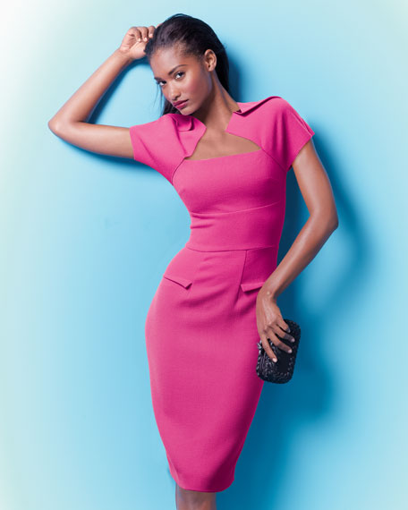 Myrtha Folded Sheath Dress, Bubblegum