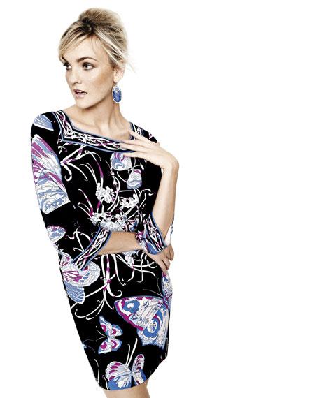 Butterfly-Print Bell-Sleeve Dress