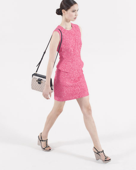 Lace Peplum Sheath Dress, Pink