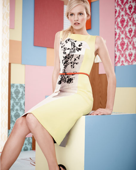 Modern Art-Print Faille Dress