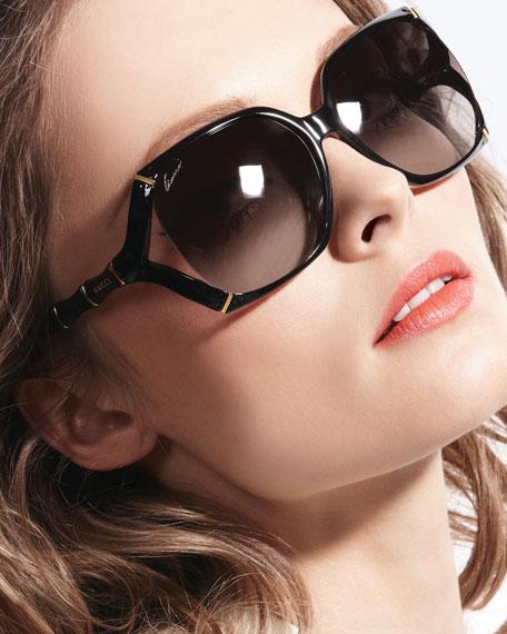 48e9f3936 Gucci Square Plastic Bamboo-Shaped Sunglasses