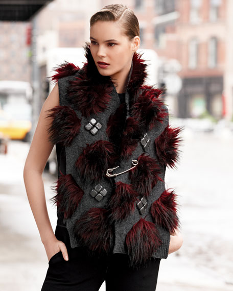 Safety-Pinned Faux-Fur Scarf, Red