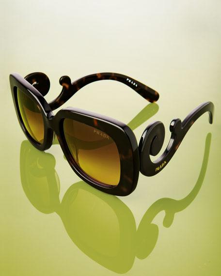 Curved-Temple Sunglasses, Black