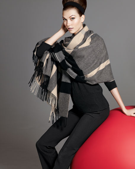 Mega Check Cashmere Scarf, Charcoal