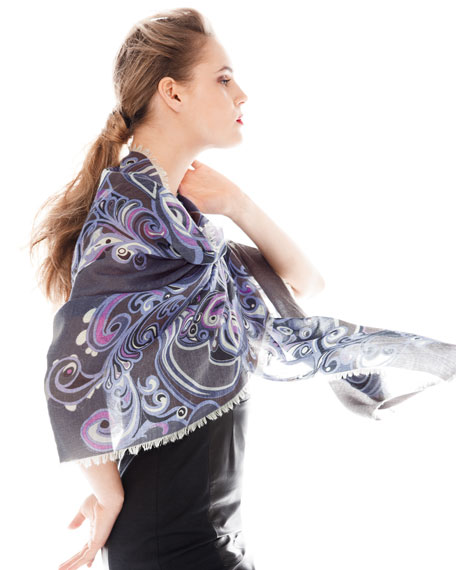 Pizzo Gauze Scarf, Violet