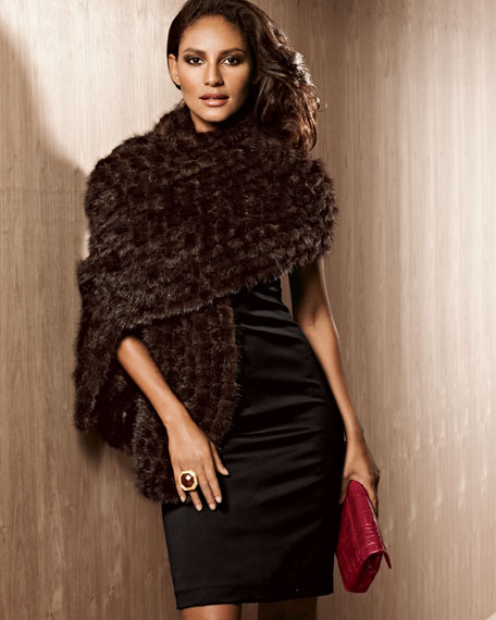 Square-Knit Mink Stole