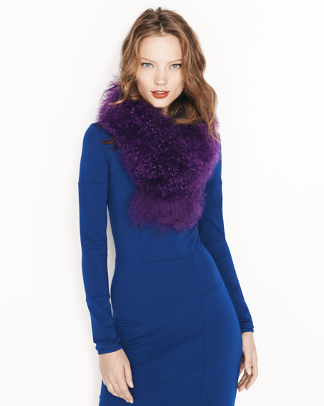 Tibetan Lamb Fur Scarf, Purple