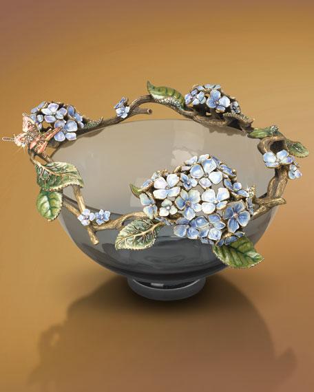"""""""Jamie"""" Hydrangea Glass Bowl, 10"""""""