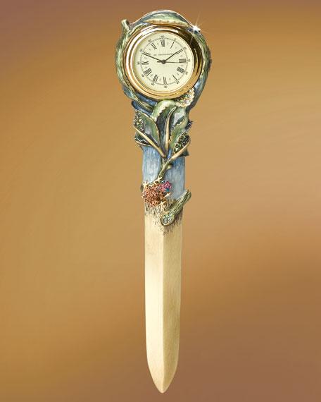 """Yates"" Floral Clock Letter Opener"