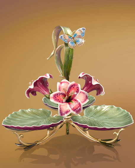 """Pearl"" Porcelain Triple-Leaf Server"