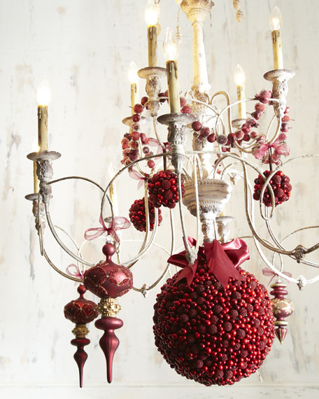 "Six ""Bordeaux"" Berries & Pine Cone Christmas Ornaments"
