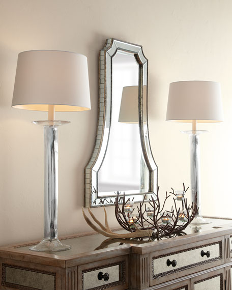 Fluted Mercury Glass Buffet Lamp