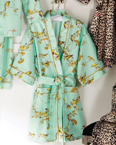Canary-Print Short Robe