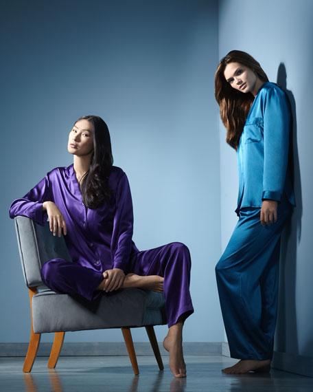 Tailored Silk Pajamas, Purple