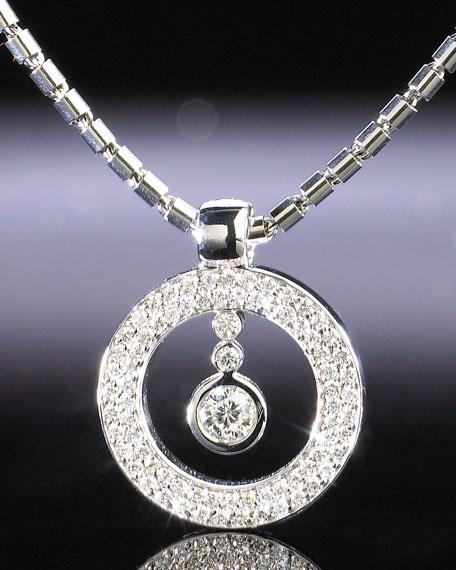 Cento Circle Pave Pendant Necklace