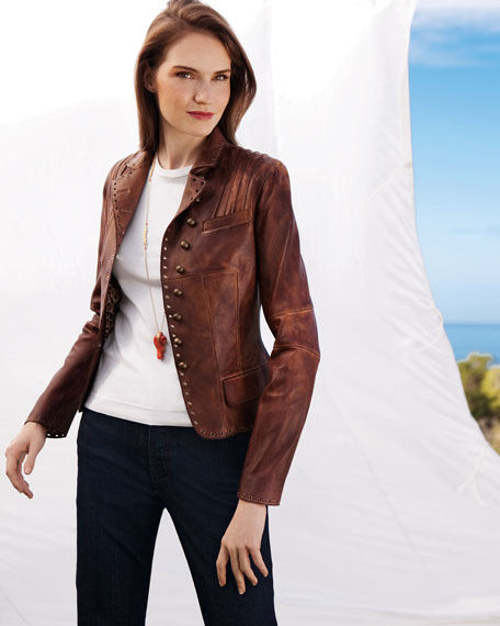 Military-Button Leather Jacket