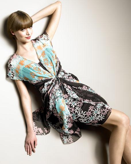 Daisy-Print Chiffon Dress