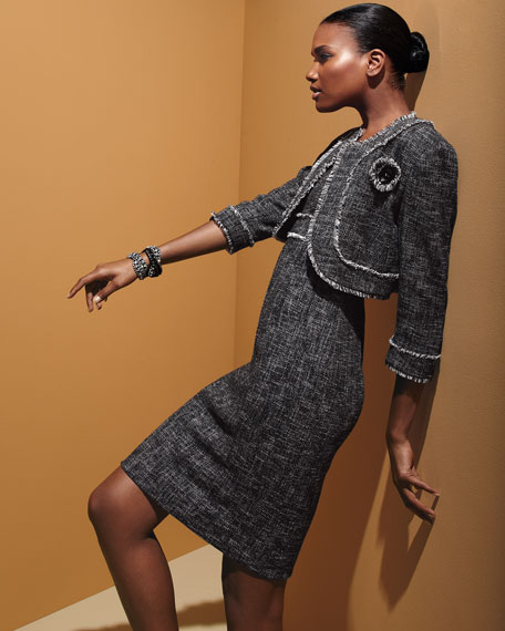 Two-Tone Tweed Dress and Jacket