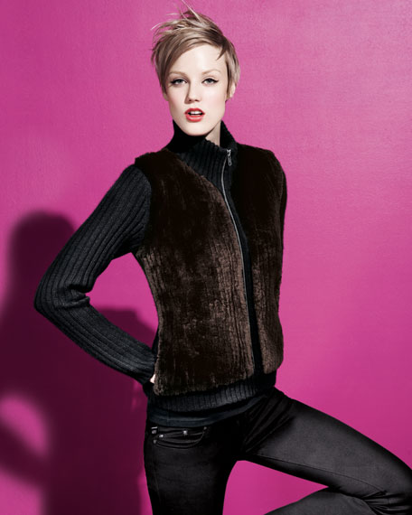 Fur-Collar Cashmere Cardigan