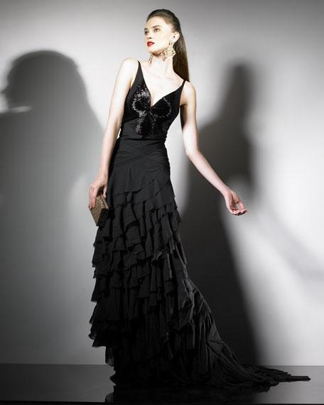 Ruffled Floor-Length Gown