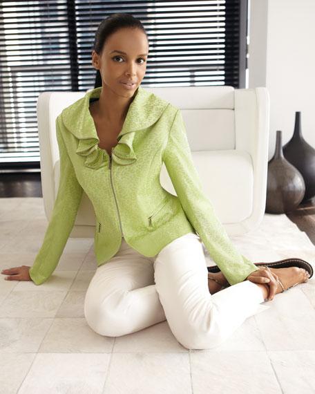 Ruffle-Collar Zip Jacket