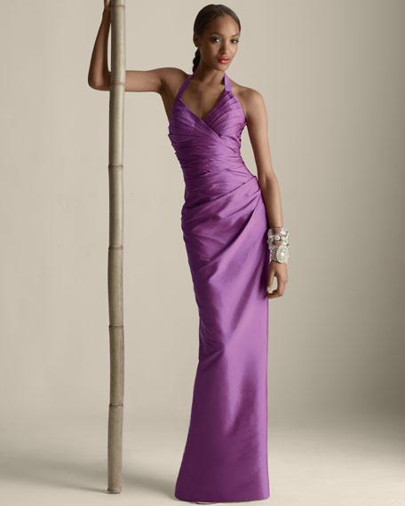 Shantung Halter Gown