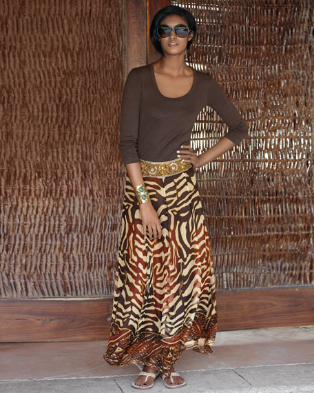 Beaded-Waist Zebra-Print Skirt