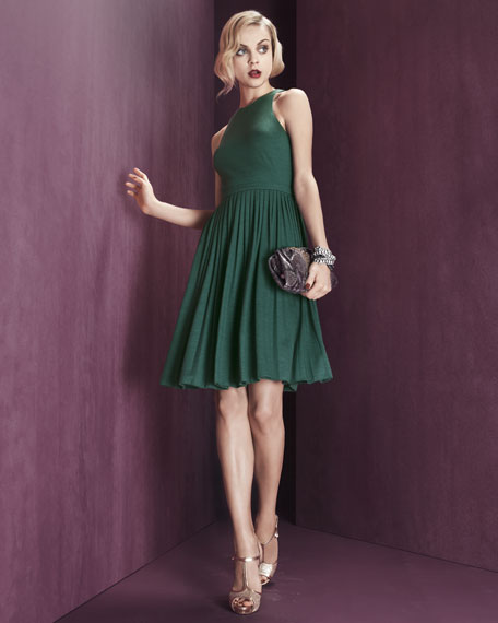 Pleated Wool Jersey Dress