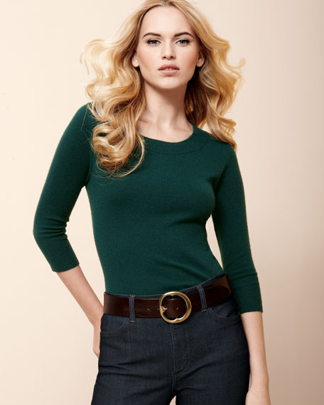 Cashmere Quarter-Sleeve Sweater