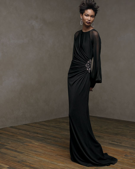 Long-Sleeve Illusion Gown