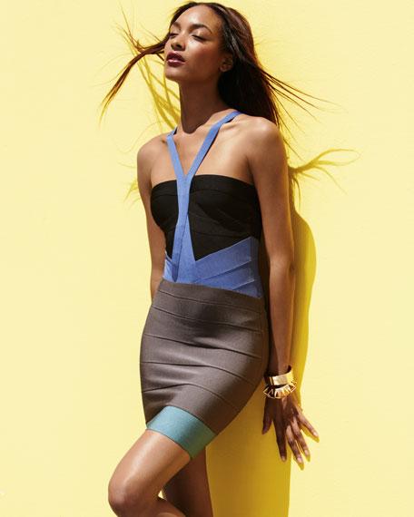 Colorblock Halter Bandage Dress