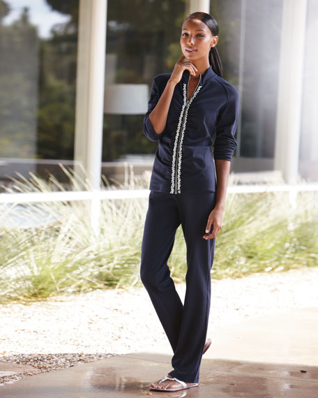 Jeweled Front Zip Jogging Suit