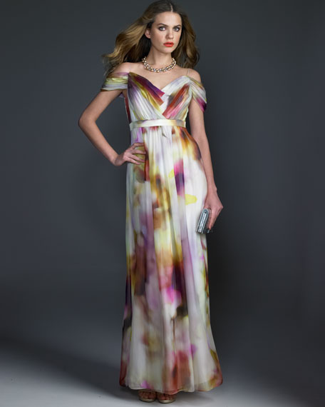 Off-the-Shoulder Printed Gown