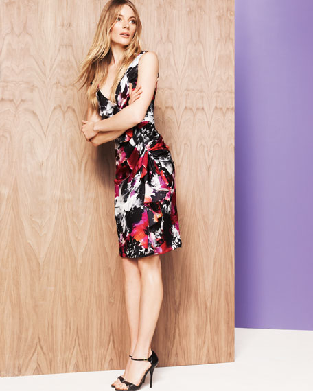 Floral-Print Ruffled Cocktail Dress