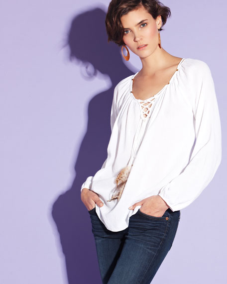 Feather-Tassel Voile Blouse