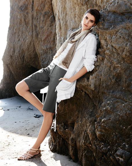 Hooded Linen Zip Jacket, Petite