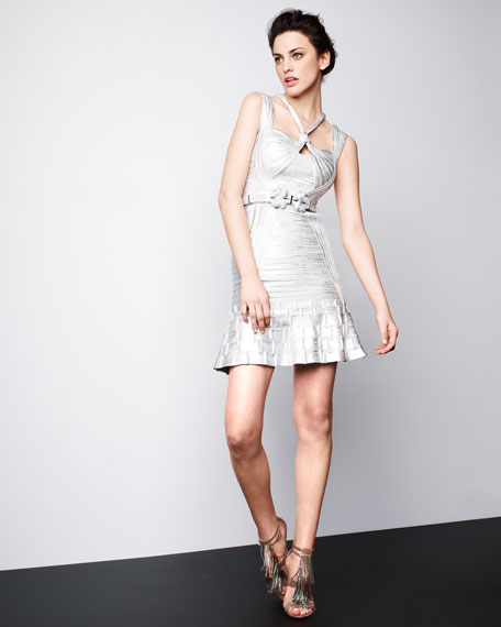 Ruffle-Hem Metallic Bandage Dress