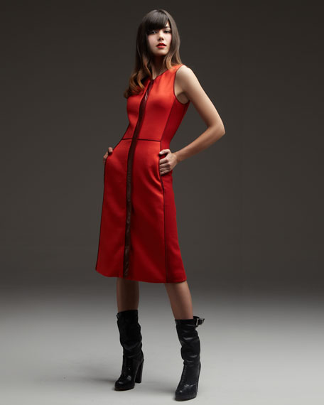 Leather-Trim Colorblock Dress
