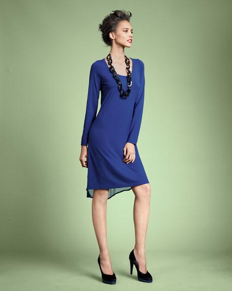 Chiffon-Trim Jersey Dress