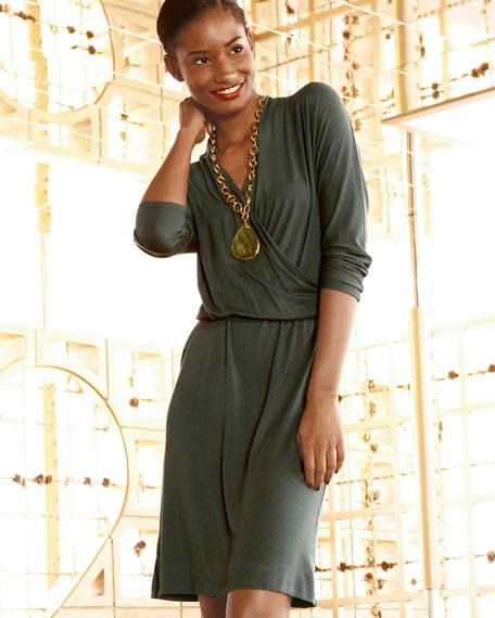 Crisscross Drape-Neck Dress