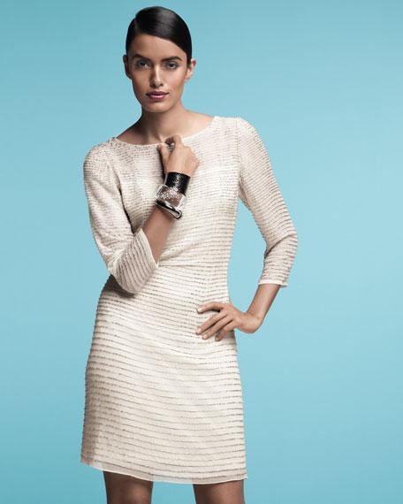 Three-Quarter-Sleeve Stripe-Sequin Dress