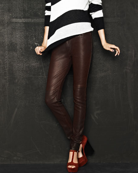 The Leather Bordeaux Skinny Jeans