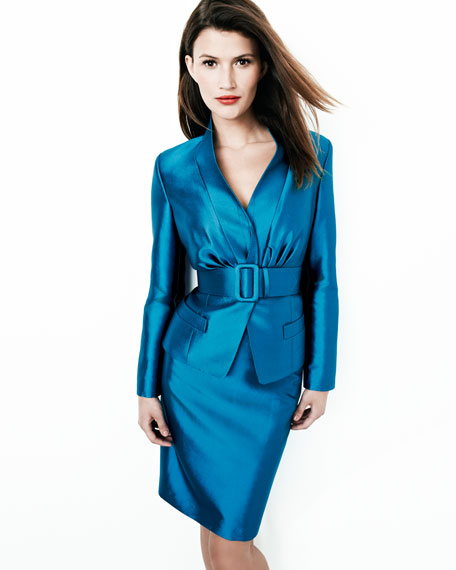 Ruched Satin Suit