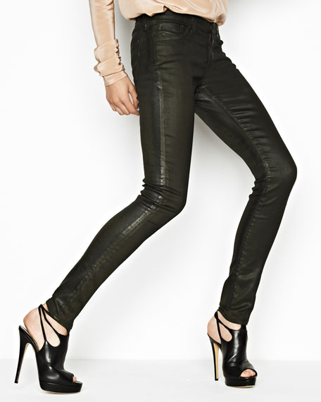 Faux-Leather Leggings, Olive