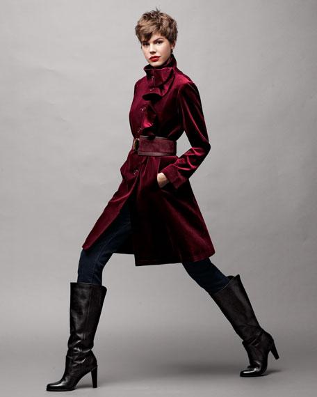 Velvet Ruffle-Front Coat