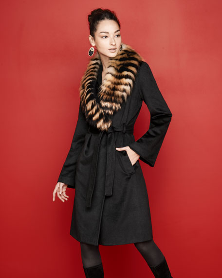 Feathered Fox Fur-Trim Coat
