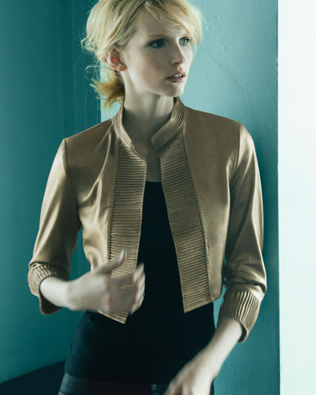 Metallic Leather Bolero Jacket