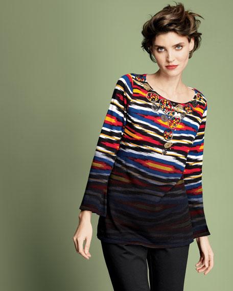 Beaded Horizon-Print Sweater, Women's