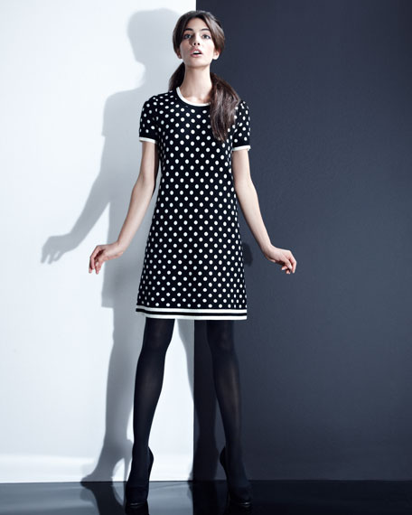 joanie short-sleeve polka-dot dress
