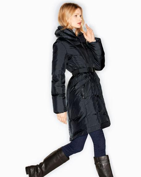 Oversized-Collar Puffer Coat
